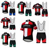 2019 Team Cycling Kit Men's Short Sleeve Cycle Jersey and Bib Shorts Padded Set