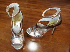 New Michael Kors Leighton Platform Heels Womens 6.5 Rose Gold Silver $185