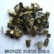 50  BRONZE 4mm NECKLACE ENDS SUEDE JEWELERY MAKING FINDINGS