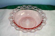 OLD COLONY LACE EDGE OPEN PINK DEPRESSION GLASS SERVING BOWL 9.5""