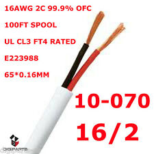 100FT UL SPEAKER CABLE 16AWG WIRE CL2 CL3 IN WALL GAUGE 2 CONDUCTOR AUDIO 16GA