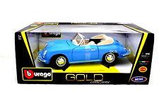 1961 PORSCHE 356B CABRIOLET BLUE MADE BY BBURAGO 1/18  DIECAST CAR