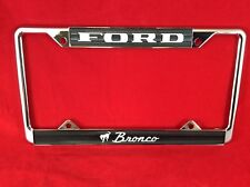 FORD BRONCO SCRIPT LICENSE PLATE FRAME! CHROME PLATED METAL, VERY NICE!
