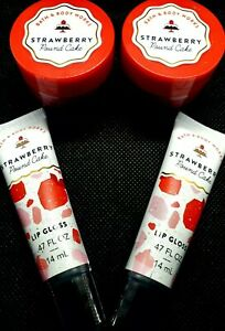 🎂 4 PC BATH & BODY WORKS STRAWBERRY POUND CAKE EXFOLIATING SCRUB & LIP GLOSS 😷