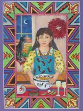 Original Diana Bryer Chimayo New Mexico Folk Art Pencil Drawing 1994