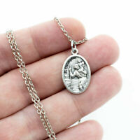 """Saint St Christopher Silver Plated Italian Medal Pendant Necklace 24"""" Link Chain"""
