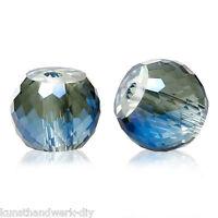 KUS 30 Dunkelblau+Grau Glasperlen Glasschliffperlen Beads Kugeln zum Basteln 8mm