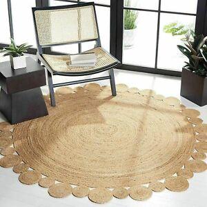 Rug 100% Jute Round Natural Reversible 2x2 Feet Braided Carpet Modern Area Rug