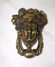 "VINTAGE BRASS DOOR KNOCKER  MAN  DETAILED 7 1/2"" TALL 5 1/2"" WIDE"