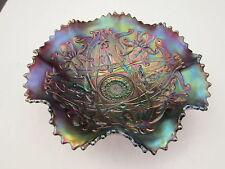 Antique Northwood Amethyst Wishbone Ftd Carnival Glass Bowl Blue Iridescence