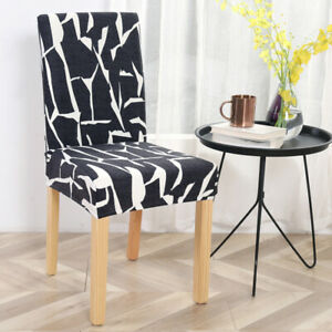 1/4/6Pcs Printed Chair Covers Dining Room Chair Slipcovers Protector Removable