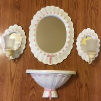 Burwood MIRROR SHELF SCONCES Pink Ribbon White Hobnail 2916 Home Interiors HOMCO