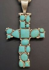Silver Cross Necklace Beautiful Native American Turquoise 925