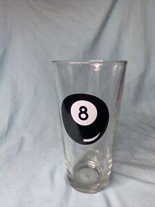 """VINTAGE LIBBEY DURATUFF BILLARD """"POOL"""" BALL 8 Ball BEER GLASS"""