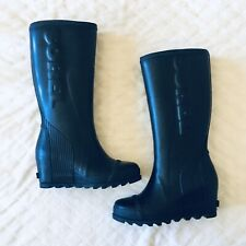 New Women's Sorel Joan Tall Wedge Rain Rubber Boots Size 8.5