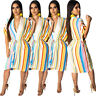 New Women V Neck Bag-sleeves Colorful Stripes Casual Summer Vocation Dress