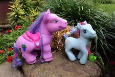 "2 Lot, 2005 Hasbro 9"" Blue My Little Pony Rainbow, 11"" Large Purple Horse Grapes"