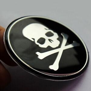 4pcs Black Car Wheel Hub Center Cover Cross Bone Skull Logo Decal Sticker 56mm