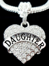 Daughter Charm   fits European style bracelet   Daughter Crystal Heart charm