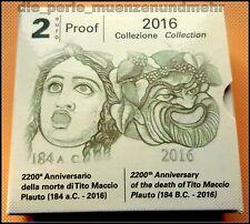 """2 Euro Gedenkmünze Italien 2016 in PP """"Tito Maccio Plauto""""im Etui ungeöffnet neu"""