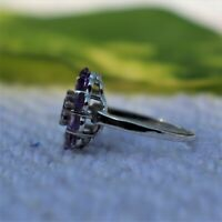 AFRICAN AMETHYST NATURAL GEMSTONE 925 STERLING SILVER HANDMADE JEWELRY RING