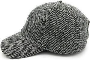 Harris Tweed Grey Herringbone Baseball Adjustable Cap Made in Scotland