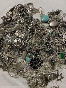 Bulk lot Vintage JEWELLERY Junk CRAFT Bits charms REPURPOSE 3kg Silvertone Metal