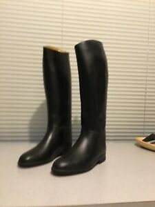 """Aigle Black Rubber 19"""" Equestrian Riding Boots Made in France Size 6"""