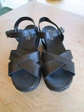 Skechers Shape Ups Black Leather Strappy Slingback Sandal Shoes Size Women's 8.5