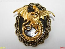 steampunk badge brooch pin gold dragon game of thrones Harry Potter