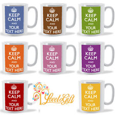 KEEP CALM AND CARRY ON PERSONALISED WITH ANY TEXT ANY COLOUR GIFT MUG CUP GIFT