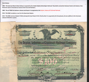Stk Dayton, Lebanon & Cincinnati RR 1892 #6 Dayton, OH See images.