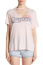 NWOT Sundry Women's Jersey Graphic V-Shape Cutout Cotton Tee Pink Size XS