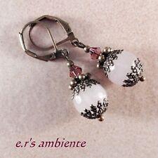Ohrringe mit ROSENQUARZ, Bronze-Vintage-Look, Ohrhänger, 0255