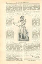 Le Cupidon de Praxitèle Sculpteur de la Grèce Antiquité GRAVURE OLD PRINT 1898