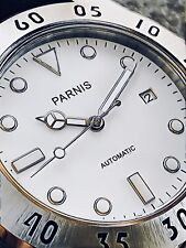 PARNIS 43mm White Dial 100M Yacht Mechanical Stainless Automatic Watch PA6028