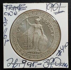 (1901) British Trade One Dollar Silver Coin, 26.9 gr.-39.0x2.7 mm.