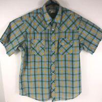 Wrangler Wrancher Men's Pearl Snap Short Sleeve Western Shirt Blue Green Plaid L