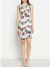 *New* REISS White/Multi Selena Palm Printed Cotton Dress ~ Size UK 8