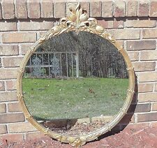 Vintage Tulip Ribboned Wall Mirror Gold Ornate Wooden Frame Hollywood Regency