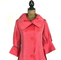 DAMEE INC Jacket NYC Back Pleat Swing Tunic Signature Shawl Collar Shimmer Pink