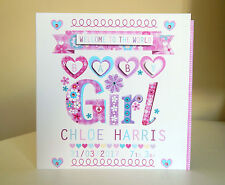 BABY GIRL card congratulations baby girl personalised new baby special card BABY