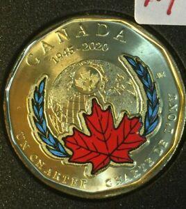 2020 Canada  1 $  LOONIE 75 th. Anniversary ONU.MAPLE LI