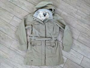 womens OUTDOOR RESEARCH jacket ENVY belted coat SMALL beige HOODED or