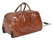 Leather Wheeled Holdall Telescopic Handle Weekend Cabin Trolley Bag Chestnut