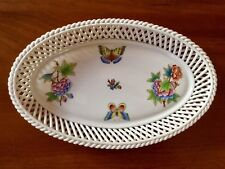 """HEREND Hungary 10"""" oval open weave basket QUEEN VICTORIA #7375/VBO - MINT!"""