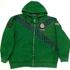 COOGI Hoodie Heavyweight Zip Up Hooded Jacket Green Tartan Plaid Men's 3XL XXXL