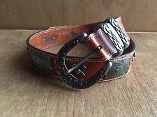 WOMEN STREETS AHEAD SILVER METAL CONCHO BROWN LEATHER BELT XS California