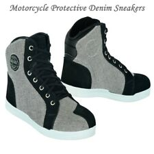 Motorcycle Boots Mens Motorbike Riders Shoes Denim and Suede Protective Sneakers