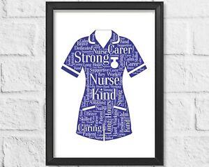 Personalised Nurse NHS Key Worker Gift Word Art Print Graduation Birthday